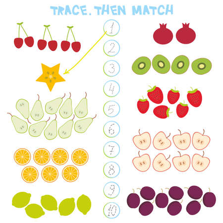Kids learning number material 1 to 10 Trace Then match. Illustration of education counting game for preschool children. Cherry, strawberry, carambola, kiwi, apple, pomegranate, lemon, orange, pear plum. Vector illustration.