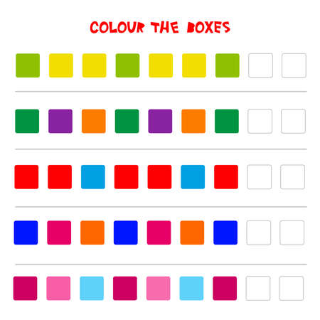 Color the boxes. Educational game what comes next of education counting play for preschool children. Vector illustration.