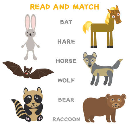 Kids words learning game worksheet read and match. Funny animals bat, hare, horse, wolf, bear, raccoon. Educational game for preschool children, picture puzzle. Vector illustration.