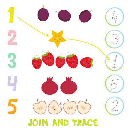 Kids learning number material 1 to 5. Join and trace. Cartoon illustration of education counting game for preschool children. Strawberry, carambola, pomegranate, plum, apple. Vector illustration.