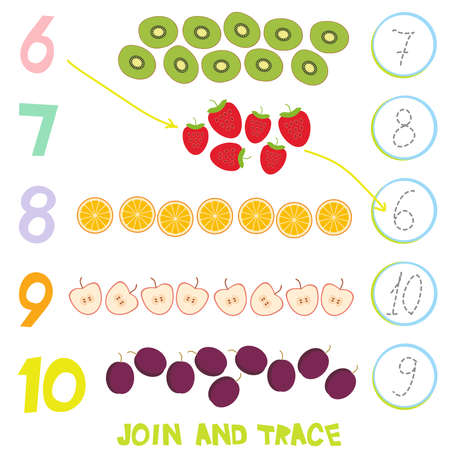 Kids learning number material 6 to 10 trace then match. Illustration of education counting game for preschool children. Strawberry, kiwi, apple, orange, plum. Vector illustration.