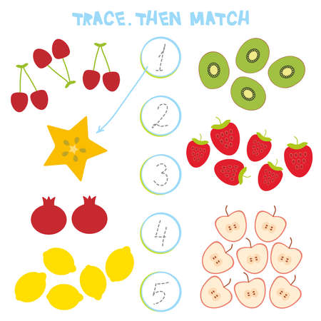 Kids learning number material 1 to 5. Trace. Then match. Cartoon illustration of education counting game for preschool children. Cherry strawberry, carambola, kiwi, apple, pomegranate, lemon. Vector illustration.