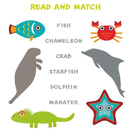 Kids words learning game worksheet read and match. Funny animals Manatee Dolphin Iguana Crab Fish Starfish Educational Game for Preschool Children Picture puzzle. Vector illustration Illustration