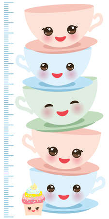 Cute pink cup, funny cupcake isolated on white background. Children height meter wall sticker, kids measure. Vector illustration