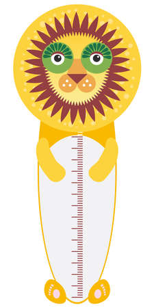 funny lion  isolated on white background. Children height meter wall sticker, kids measure. Vector illustration