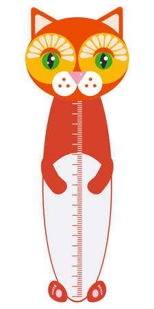 funny Red-headed cat isolated on white background. Children height meter wall sticker, kids measure. Vector illustration