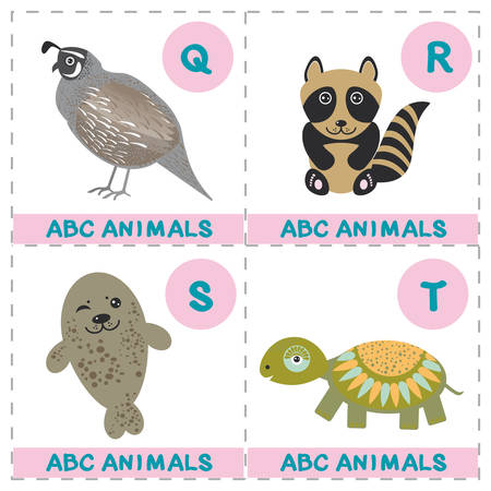 ABC alphabet for kids. Set of funny turtle raccoon fur seal quail cartoon animals character. Cards for the game. Zoo isolated on white background. Learn to read. Vector illustration Ilustração