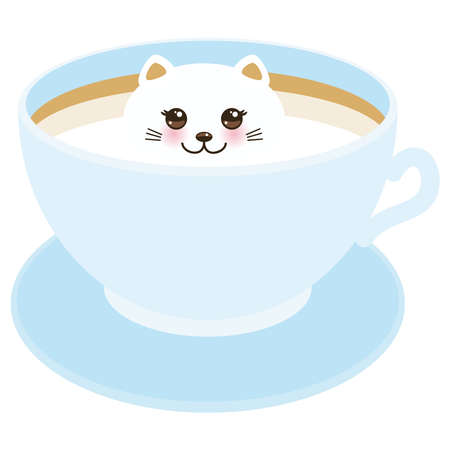 Cute Kawai cat in blue cup of froth art coffee, coffee art isolated on white background. Latte Art 3D. milk foam top on the cup of hot coffee or chocolate. Vector illustration