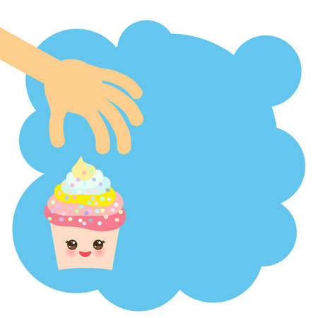 Banner template for your text, Card design with Cupcake Kawaii funny muzzle with pink cheeks and winking eyes, pastel colors on blue background. Vector illustration