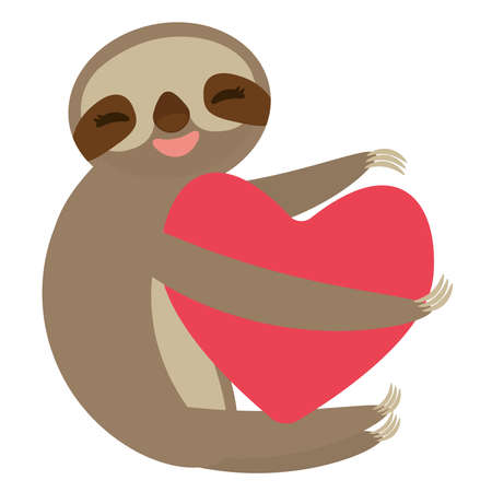 Three-toed sloth holding red heart, isolated on white background. Vector illustration
