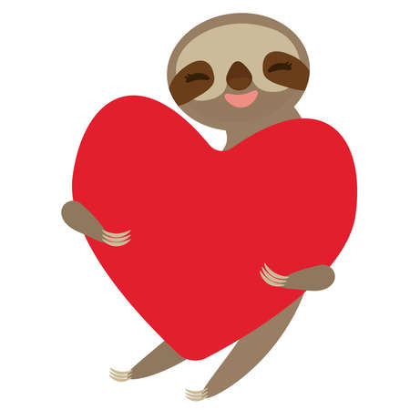 Card design cute kawaii Three-toed sloth holding red heart, copy space isolated on white background. Vector illustration