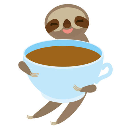 Sloth and blue cup coffee, tea, Three-toed sloth isolated on white background. Vector illustration