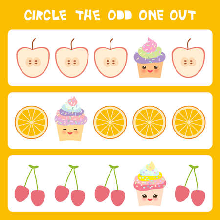 Rompecabezas de lógica visual Encierra en un círculo el impar. Cereza anaranjada de la manzana de la magdalena colorida de Kawaii con las mejillas rosadas y los ojos del guiño, colores en colores pastel en el fondo blanco. Ilustración vectorial