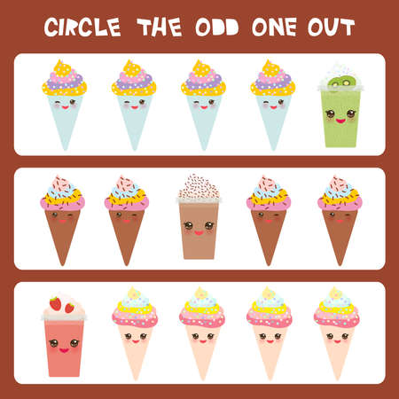 Visual logic puzzle Circle the odd one out. Kawaii colorful coffee kiwi strawberry smoothies, ice cream cone with pink cheeks and winking eyes, pastel colors on brown background. Vector illustration