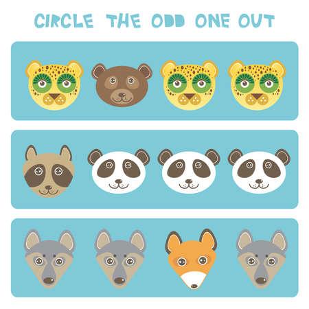 Rompecabezas de lógica visual Encierra en un círculo al extraño. Kawaii animales zorro mapache oso panda lobo perro leopardo, colores pastel sobre fondo azul. Ilustración vectorial