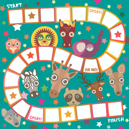 Funny cartoon animals game for Preschool Children, elephant deer horse, giraffe owl raccoon, wolf zebra lion, white orange squares on green background. Vector illustration Illustration