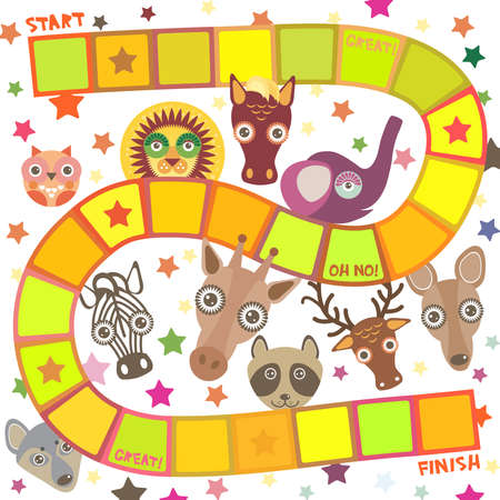 Funny cartoon animals game for Preschool Children, elephant deer horse, giraffe owl raccoon, wolf zebra lion, white orange yellow squares on white background. Vector illustration