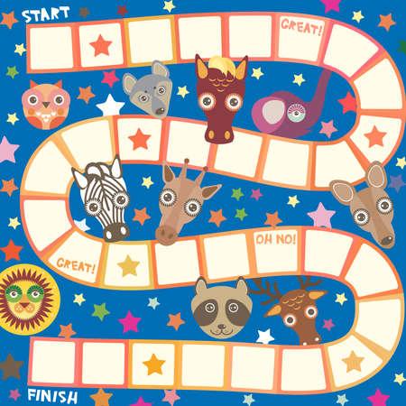 Funny cartoon animals game for Preschool Children, elephant deer horse, giraffe owl raccoon, wolf zebra lion, white orange squares on blue background. Vector illustration Illustration