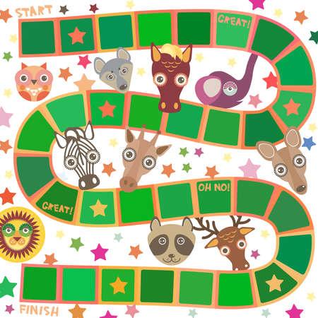 Funny cartoon animals game for Preschool Children, elephant deer horse, giraffe owl raccoon, wolf zebra lion, white green squares on white background. Vector illustration Illustration