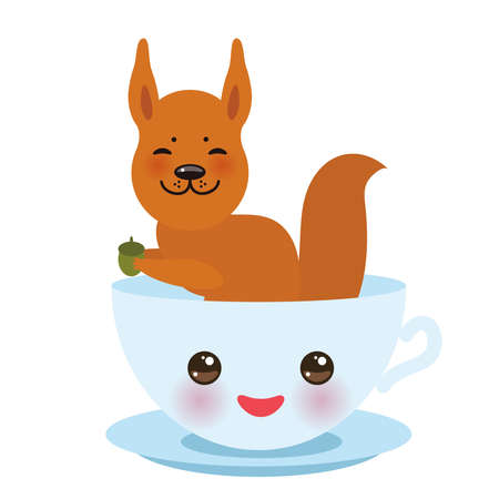 Cute light blue cup with pink cheeks and eyes with red squirrel isolated vector illustration