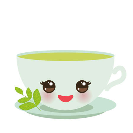 Cute green Kawaii cup, with pink cheeks and eyes, green tea and twig with leaves pastel colors on white background. Vector illustration Stock Illustratie