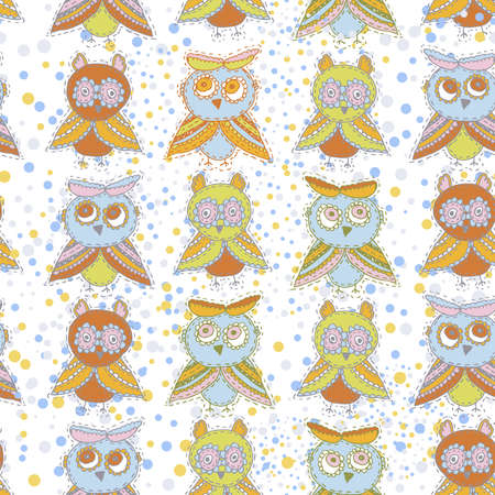 Seamless pattern Cute characters Cartoon owls and owlets birds sketch doodle beige orange blue green red isolated on white background. Vector illustration
