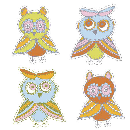 Set Cute characters Cartoon owls and owlets birds sketch doodle beige orange blue green red isolated on white background. Vector illustration