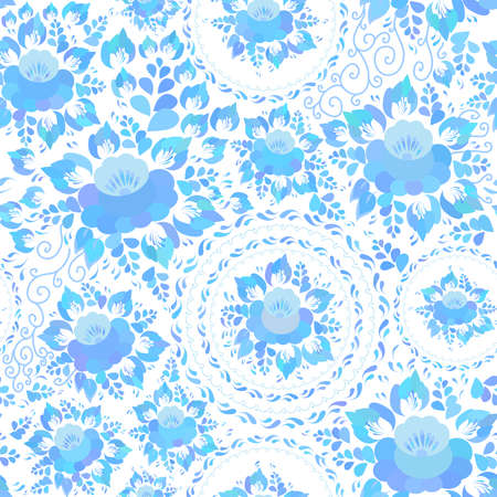 Vintage shabby Chic spring romantic decoration, pastel, Seamless pattern with sky blue flowers and leaves on white background Textile print, web page fill. Vector illustration Illustration
