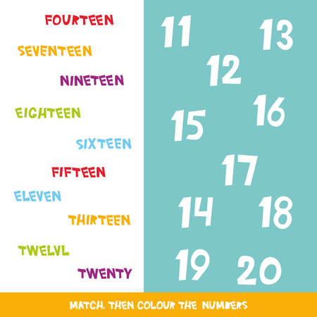 Match then colour the numbers 11 to 20. Kids words learning game, worksheets with simple colorful graphics. Children educational learning color theme and vocabulary. Vector illustration 向量圖像