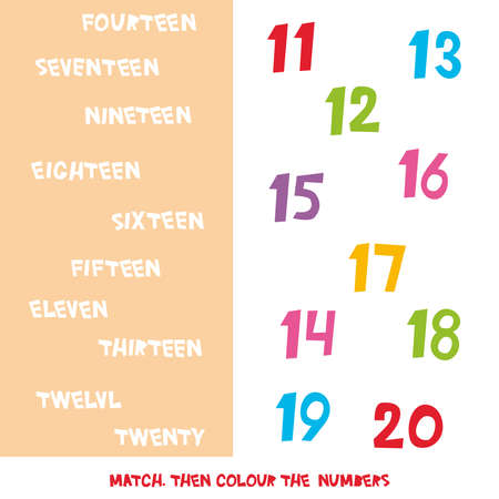 Match then colour the numbers 11 to 20. Kids words learning game, worksheets with simple colorful graphics. children educational Learning color theme and vocabulary. Vector illustration Ilustracja