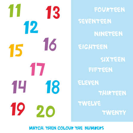 Match then colour the numbers 11 to 20. Kids words learning game, worksheets with simple colorful graphics. children educational Learning color theme and vocabulary. Vector illustration 版權商用圖片 - 94208967