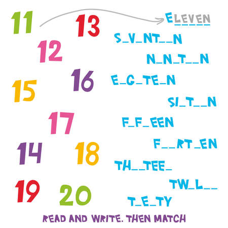 Read and Write. Then Match the numbers 11 to 20. Kids words learning game, worksheets with simple colorful graphics. children educational Learning color theme and vocabulary. Vector illustration