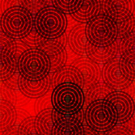 Abstract rings round motif geometric background Vintage red black decoration Textile print, web page fill.