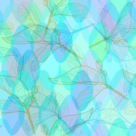 ロンバスの葉の輪郭とスクワマ装飾的な現代的な要素を持つ抽象的な幾何学的なシームレスなパターン。紫の青いアクアライラック幾何学的なプリ