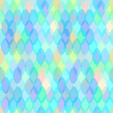 楕楕円とスクワマ装飾的な現代的な要素を持つ抽象的な幾何学的シームレスなパターン。ピンクの紫の青いアクアライラック幾何学的なプリント、