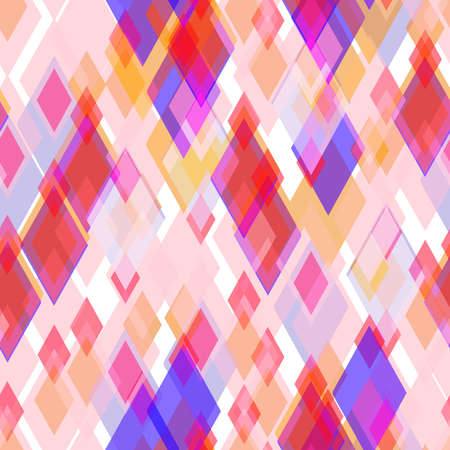 Abstract geometric seamless pattern with rhombus and brilliant decorative geometric and abstract contemporary elements. lilac pink orange red geometric print, ethnic hipster trendy backdrop. Vector illustration
