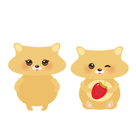 Cute hamster, boy and girl with fresh Strawberry, pastel colors on white background. Vector illustration