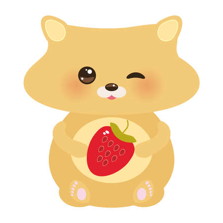 Cute hamster with fresh Strawberry, pastel colors on white background. Vector illustration Illustration