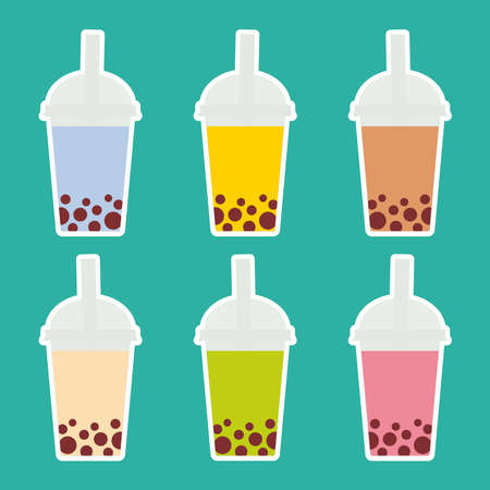 Bubble Tea with different fruits and berries. Milk Cocktails in plastic cup, tubule. Different sorts of Bubble Tea Cocktails. pastel colors on turquoise background. Vector illustration
