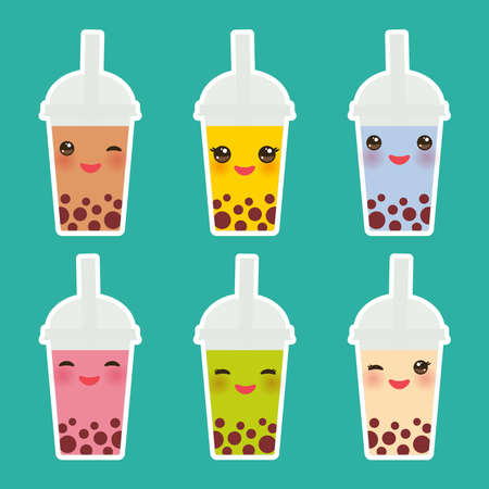 Cute Bubble Tea with different fruits and berries. Milk Cocktails in plastic cup, tubule. Different sorts of Bubble Tea Cocktails. pastel colors on turquoise background. Vector illustration Çizim
