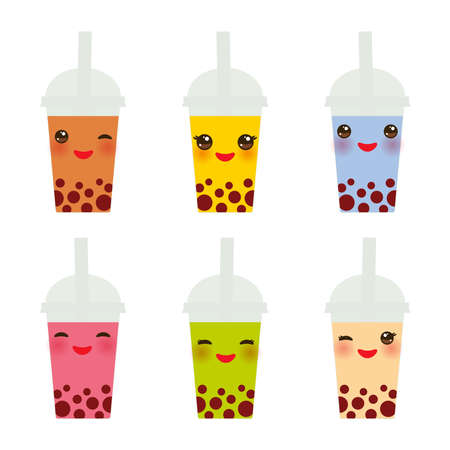 Cute Bubble Tea with different fruits and berries. Milk Cocktails in plastic cup, tubule. Different sorts of Bubble Tea Cocktails. pastel colors on white background. Vector illustration