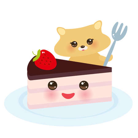 Cute  hamster with fork, Sweet cake decorated with fresh Strawberry, pink cream and chocolate icing, pastel colors on white background. Vector illustration