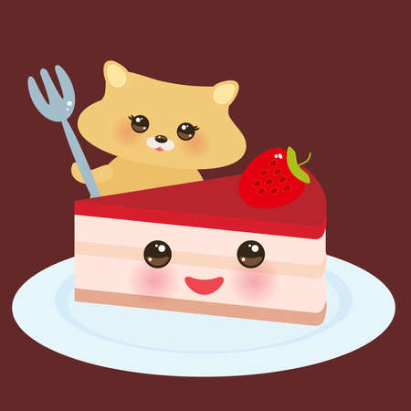 Cute hamster with fork, Sweet cake decorated with fresh Strawberry, pink cream and icing, pastel colors on brown background. Vector illustration