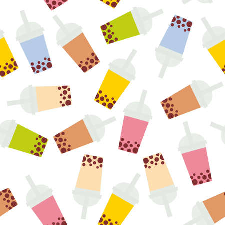 Seamless pattern Bubble Tea with different fruits and berries. Milk Cocktails in plastic cup, tubule. Different sorts of Bubble Tea Cocktails. pastel colors isolated on white background. Vector illustration