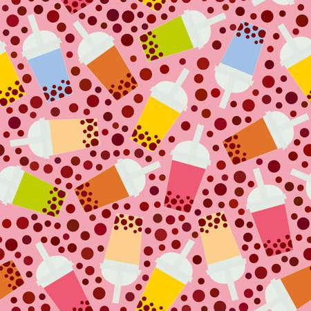 異なる果物やベリーとシームレスなパターンバブルティー。プラスチックカップのミルクカクテル、チューブル。バブルティーカクテルの異なる種類。ピンクの背景にパステルカラー。ベクトルイラスト 写真素材 - 94309109