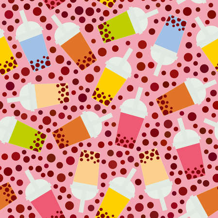 Seamless pattern Bubble Tea with different fruits and berries. Milk Cocktails in plastic cup, tubule. Different sorts of Bubble Tea Cocktails. pastel colors on pink background. Vector illustration Çizim