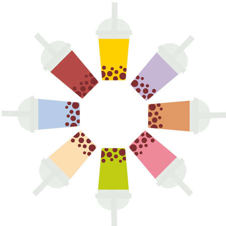 Bubble Tea with different fruits and berries. Round frame Milk Cocktails in plastic cup, tubule. Different sorts of Bubble Tea Cocktails. pastel colors isolated on white background. Vector illustration
