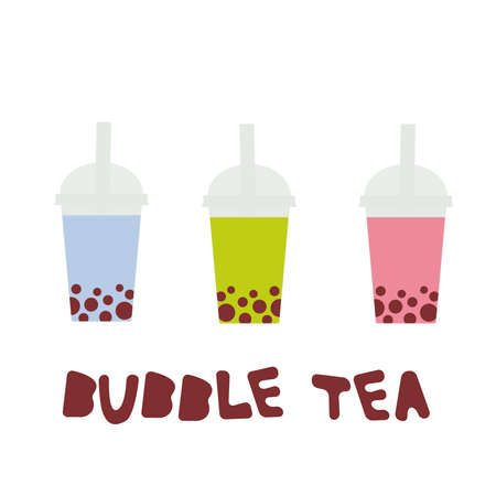 Bubble Tea with different fruits and berries. Milk Cocktails in plastic cup, tubule. Different sorts of Bubble Tea Cocktails. pastel colors isolated on white background. Vector illustration