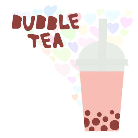 Bubble Tea with pink raspberry strawberry watermelon berries. Milk Cocktails in plastic cup, tubule, heart pastel colors on white background. Vector illustration