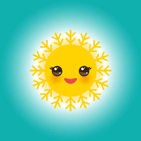 World Sun Day May 3, Kawaii funny yellow sun with cute smiles pink cheeks and eyes on sky blue background. Vector illustration